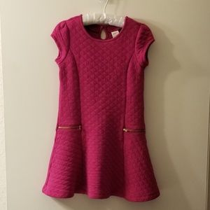 Gymboree Girls Fuchsia Quilted Dress Sz 7
